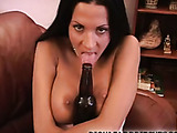 Exotic brunette babe plays with a bottle then gets pussy pounded.
