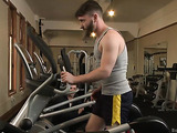 Young gay couple having nasty session in the gym