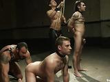 Lucky gay hunk fucks three tied up slaves so well