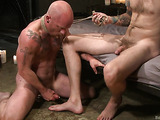 Older bald dude gets rammed hard by a young gay hunk