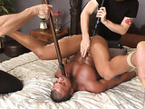 Submissive black dude gets used by two horny white men