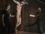 Tied up gay hunk gets sucked off and assfucked