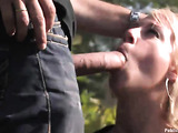 Sweet blonde in bondage gets nailed hard in public