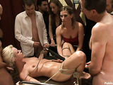 Blonde pornstar gets tied up and used by horny gentlemen