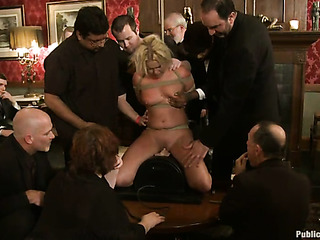 tied blonde pornstar sucks