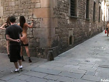 Two brunette bitches getting nailed in public by a porn stud