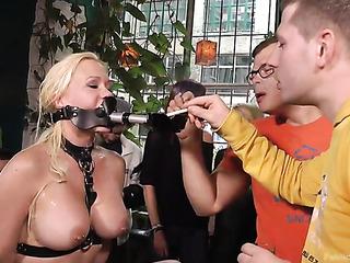 brunette slave shows off