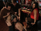 Slim brunette whore gets nailed by two studs in public