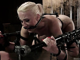 Blonde sweetie with small tits gets tied up and toyed