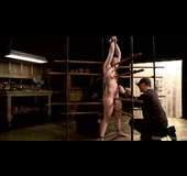 Dark haired lady gets waxed and toyed by her master