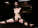 Short haired lady with small titties in bondage gets used