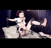 Freaky redhead slut gets tied up and gagged by her master