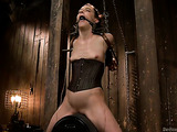 Short haired bitch enjoys in this freaky bondage session