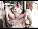 Dark haired hottie in white bikini fucks her cunt harsh with yummy toy