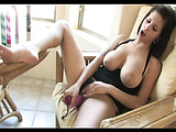Incredible babe with humongous tits cums so hard while using xl purple toy