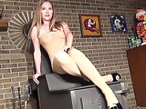 Luscious babe with smoking hot body reveals her huge tits and sweet pussy wearing her brown stockings and black high heels before she opens her legs wide and rubs her lusty crack.