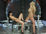 Two raunchy bitches enjoying in this fucking machine session