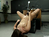 Brunette bitch explores her tight pussy with sex toys