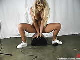 Blonde babe rides a few fucking machines with pleasure