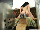 Freaky chick with black hair experimenting with sex toys