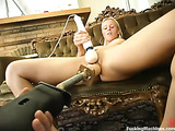 Blonde honey gets her pussy destroyed by various fucking machines