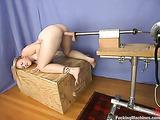 Blonde cutie with small titties rides her favorite sex machine