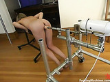 Teen blondie with a shaved pussy enjoys her fucking machines