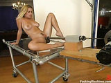 Glamorous blonde woman in sexy lingerie gets rammed hard