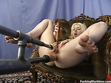 Sultry blonde with a pale body enjoys in her fucking machines