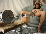 Busty black girl rides her favorite fucking machines