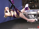 Blondie gets her pussy rammed by a fine fucking machine