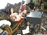 Two hotties in black stockings testing some fucking machines