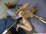 Short haired blondie needs to satisfy her both tight holes