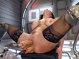 Classy brunette lady wants to ride her fucking machines