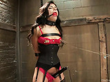 Dark haired honey in a sexy corset gets rammed by her stud