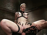 Well hung dude in latex fucks a tied up blonde whore