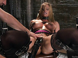 Horny dude in a latex suit is here to fuck this blonde whore