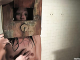 Tied up dark haired slave gets abused by her master