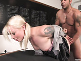 Inked blonde with a killer body gets tied up and rammed