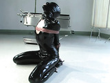 Blonde whore with a black mask gets used by her master