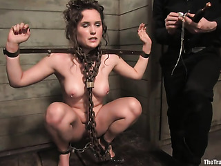 Get Naked girl chained whipped