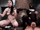 Two tied up dark haired bitches are ready for a large dick