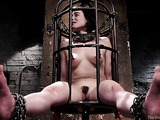 Short haired brunette with a trimmed cunt gets tied up and used