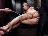 Blonde bimbo in bondage gets assfucked hard by her master