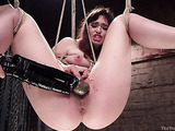 Brunette whore with a hairy cunt gets tied up and used