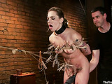Blonde on a leash gets her tight pussy stimulated and toyed