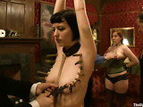 Two cute ladies in bondage get toyed and used by a horny dude