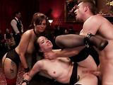 Two brunette whores in bondage get rammed in a hot orgy