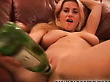 After pounding pussy with bottle, babe takes a dick up her box.