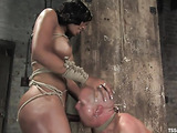 Tied up bald dude gets used by a well hung black shemale